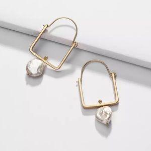 Natural Pearl Gold Square Hoop Earrings